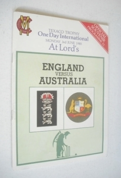 England vs Australia Cricket Official Souvenir Programme (3 June 1985)