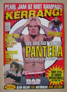 <!--1995-04-01-->Kerrang magazine - Phil Anselmo cover (1 April 1995 - Issu