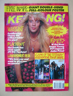 <!--1990-11-17-->Kerrang magazine - Jani Lane cover (17 November 1990 - Iss