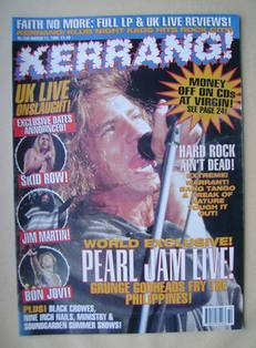 <!--1995-03-11-->Kerrang magazine - Pearl Jam cover (11 March 1995 - Issue