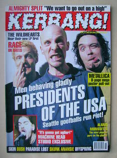 <!--1996-04-13-->Kerrang magazine - Presidents Of The USA cover (13 April 1