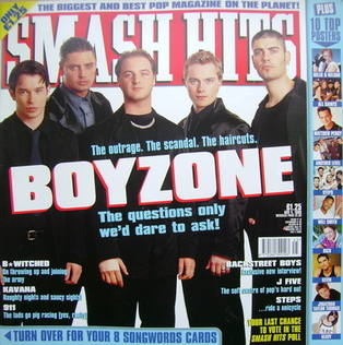 <!--1998-11-04-->Smash Hits magazine - Boyzone cover (4 November 1998)