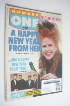 NUMBER ONE Magazine - Carol Decker cover (2 January 1988)