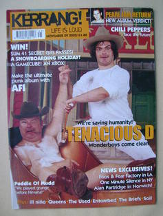 <!--2002-11-09-->Kerrang magazine - Tenacious D cover (9 November 2002 - Is