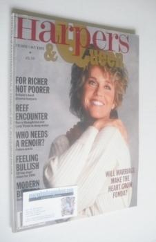 British Harpers & Queen magazine - February 1991 - Jane Fonda cover