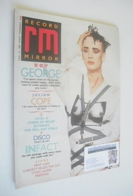 <!--1987-03-14-->Record Mirror magazine - Boy George cover (14 March 1987)