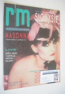 <!--1986-03-15-->Record Mirror magazine - Siouxsie Sioux cover (15 March 19