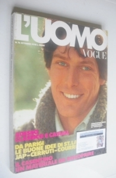L'Uomo Vogue magazine - October 1978 - Christopher Reeve cover