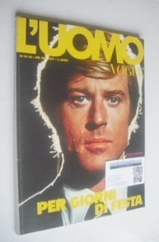 L'Uomo Vogue magazine - December 1976/January 1977 - Robert Redford cover