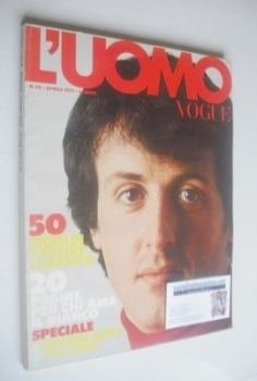 L'Uomo Vogue magazine - April 1977 - Sylvester Stallone cover