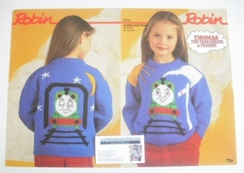 Thomas The Tank Engine Sweater Knitting Pattern (Robin R241) (Child Size)