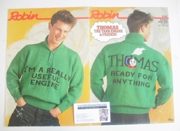 Thomas The Tank Engine Sweater Knitting Pattern (Robin R243) (Adult Size)