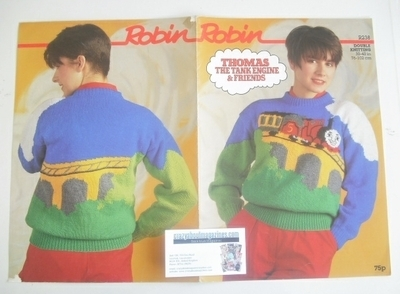 James The Red Engine Sweater Knitting Pattern (Robin R238) (Child/Adult Siz