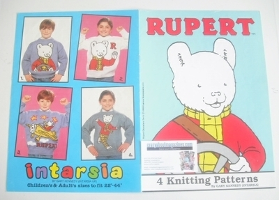 Rupert Sweater Knitting Patterns x4 (Intarsia) (Child/Adult Size)