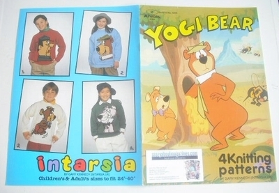 Yogi Bear Sweater Knitting Patterns x4 (Patons 4599) (Child/Adult Size)