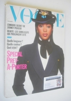 French Paris Vogue magazine - August 1988 - Naomi Campbell cover