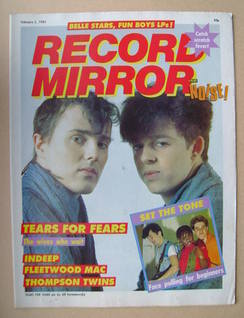 <!--1983-02-05-->Record Mirror magazine - Tears For Fears cover (5 February