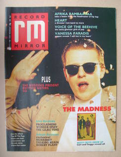 <!--1988-03-12-->Record Mirror magazine - Suggs cover (12 March 1988)