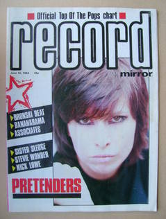 Record Mirror magazine - Chrissie Hynde cover (16 June 1984)