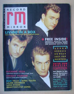 Record Mirror magazine - Living In A Box cover (27 June 1987)