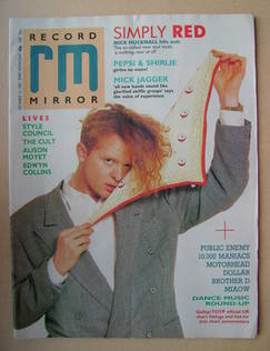 <!--1987-12-12-->Record Mirror magazine - Mick Hucknall cover (12 December