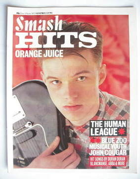 <!--1982-11-11-->Smash Hits magazine - Edwyn Collins cover (11-24 November