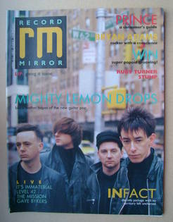<!--1987-04-11-->Record Mirror magazine - Mighty Lemon Drops cover (11 Apri