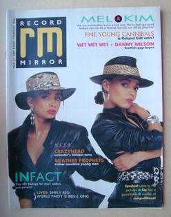 <!--1987-03-21-->Record Mirror magazine - Mel and Kim cover (21 March 1987)