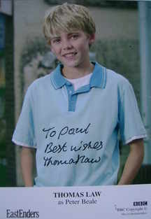 Thomas Law autograph (EastEnders actor)