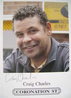 Craig Charles autograph (hand-signed Coronation Street cast card)