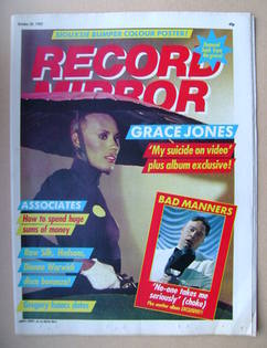 <!--1982-10-30-->Record Mirror magazine - Grace Jones cover (30 October 198