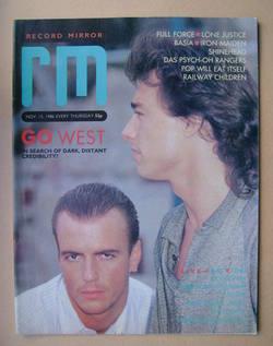 <!--1986-11-15-->Record Mirror magazine - Go West cover (15 November 1986)
