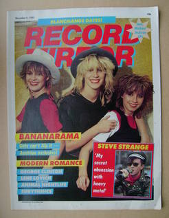 <!--1982-12-04-->Record Mirror magazine - Bananarama cover (4 December 1982