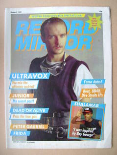 <!--1982-10-02-->Record Mirror magazine - Midge Ure cover (2 October 1982)