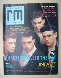 <!--1987-04-25-->Record Mirror magazine - Curiosity Killed The Cat cover (2