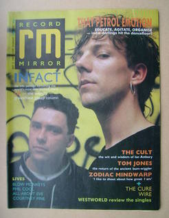 <!--1987-05-02-->Record Mirror magazine - That Petrol Emotion cover (2 May