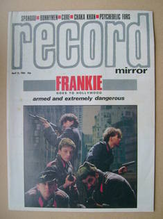 Record Mirror magazine - Frankie Goes To Hollywood cover (21 April 1984)