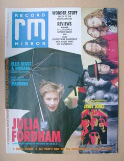 <!--1989-03-11-->Record Mirror magazine - Julia Fordham cover (11 March 198