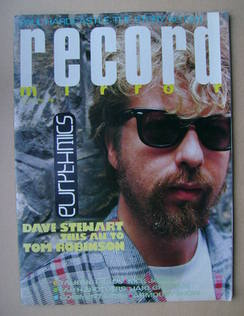 <!--1985-07-13-->Record Mirror magazine - Dave Stewart cover (13 July 1985)