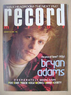 <!--1985-08-10-->Record Mirror magazine - Bryan Adams cover (10 August 1985
