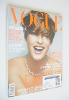 <!--1999-01-->British Vogue magazine - January 1999 - Linda Evangelista cov