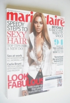 British Marie Claire magazine - October 2008 - Beyonce Knowles cover
