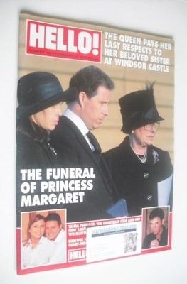 <!--2002-02-26-->Hello! magazine - Princess Margaret funeral cover (26 Febr