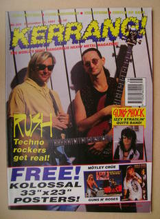 <!--1991-09-21-->Kerrang magazine - Alex Lifeson and Geddy Lee cover (21 Se