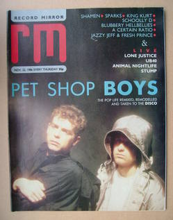 <!--1986-11-22-->Record Mirror magazine - Pet Shop Boys cover (22 November