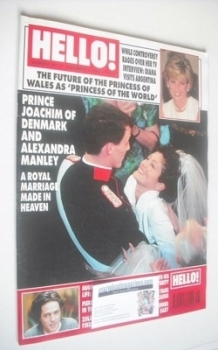 <!--1995-12-02-->Hello! magazine - Prince Joachim and Alexandra Manley wedding cover (2 December 1995 - Issue 384)
