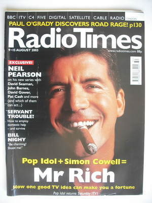 <!--2003-08-09-->Radio Times magazine - Simon Cowell cover (9-15 August 200