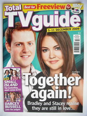 tv guide magazine. total tv guide magazine - charlie clements and lacey turner cover (5-11 december 2009) tv