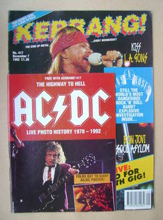 <!--1992-11-07-->Kerrang magazine - Axl Rose cover (7 November 1992 - Issue