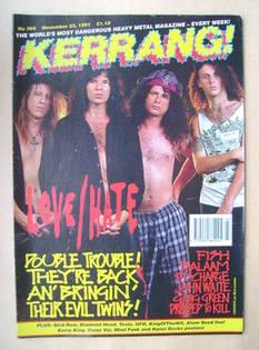 <!--1991-11-23-->Kerrang magazine - Love/Hate cover (23 November 1991 - Iss